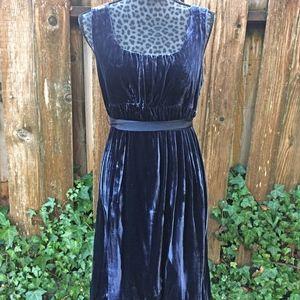 Gap Navy Blue Velvet Sleeveless Dress w/Waist Sash